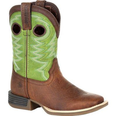 "Durango Kid Brown 8"" Western Frontier Brown and Lime Boot"