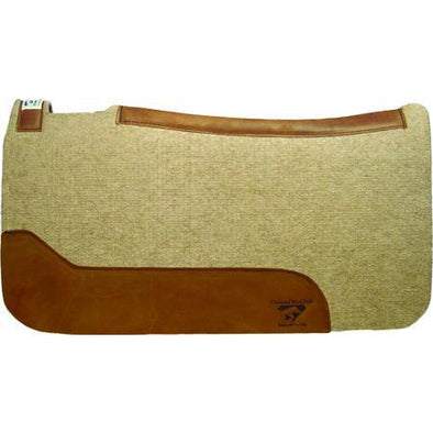 "Diamond Wool Pad Contoured Cowboy Wool Felt 32""x 32"" - Tan/Brown"