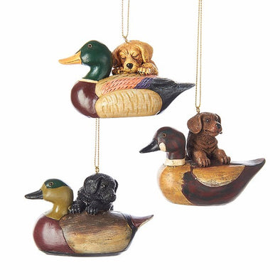 "3.5"" Resin Puppy w/Duck Decoy Ornament"