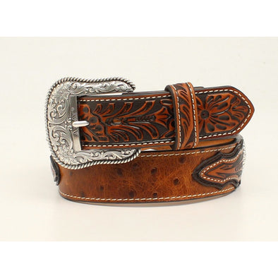 "Ariat Mens Belt 1.5"" Brown Ostrich with Floral Embossed Ends and Center with Round Concho"