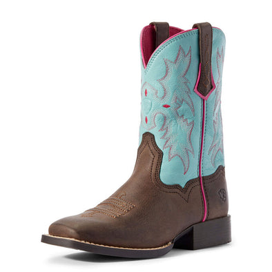 Ariat Youth Tombstone Bay Brown/Bell Blue Boots