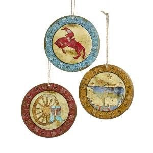 "3.75"" Metal Western Disc Ornament"