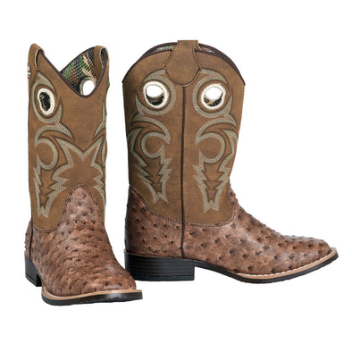 Double Barrel Brant Youth Cowboy Boot - Brown Faux Ostrich