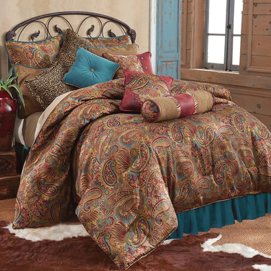 San Angelo Comforter Set, Super King Teal Bedskirt