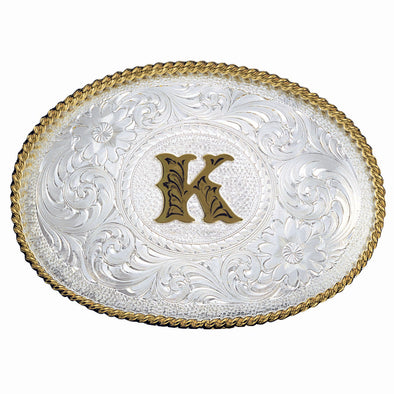 Montana Silversmiths Initial K Silver Engraved Gold Trim Western Belt Buckle