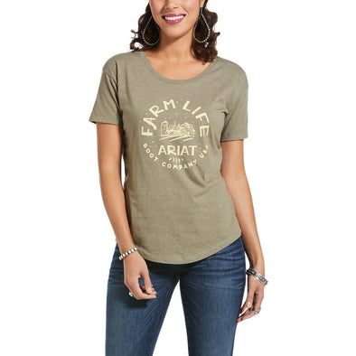 Ariat Womens Farm Life SS T-Shiort Olive Heather
