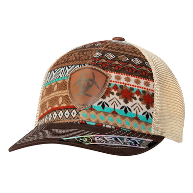 Ariat Youth Cap Brown Tribal Print Leather Shield Logo Mesh Snapback