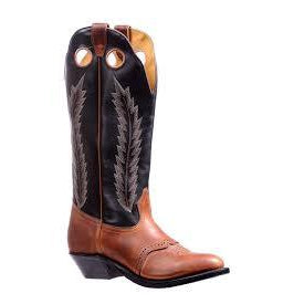 Boulet Men's Challenger Cowboy Boot - Black Finish Leather/Grizzly Sand - Irvines Saddles