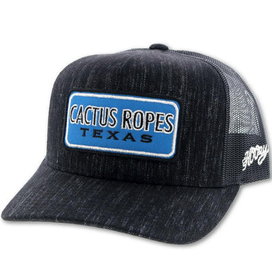 """CR59"" Cactus Ropes, Black/Black 5 Panel Trucker w/Patch"