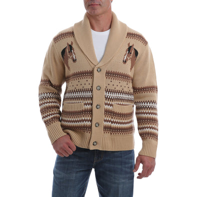 Cinch Mens Retro Horse Sweater  Cream