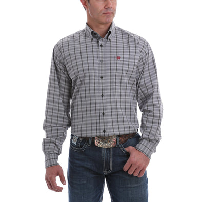 Cinch  Mens LS PLaid Western Shirt   Black