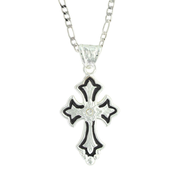 Montana Silversmiths Silver and Black Cross Necklace