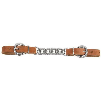 "Weaver Harness Leather 3-1/2"" Single Flat Link Chain Curb Strap - Russet"