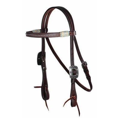 Professional's Choice Dark Raw/Turquoise Dotted Browband Headstall