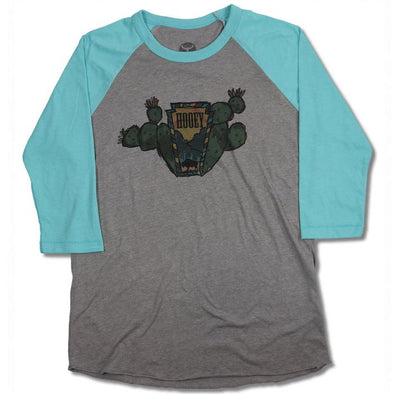 """Prickly Pear"" Youth Grey/Turquoise Raglan Tee"