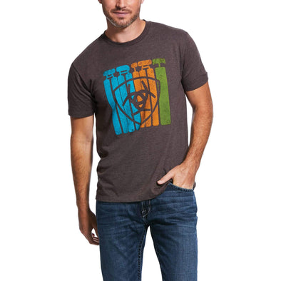 Ariat Mens Standing Tall SS Tshirt Brown Heather
