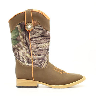 ***Double Barrel Buckshot Childrens Cowboy Boot with Zipper Access - Brown Square Toe with Mossy Oak Shaft