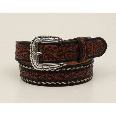 "Ariat Mens Belt 1.5"" Brown Embossed Center Black Edging with Braided Horse Hair"