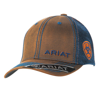 Ariat Mens Cap Brown Oilskin Navy Offset Logo Mesh Snapback