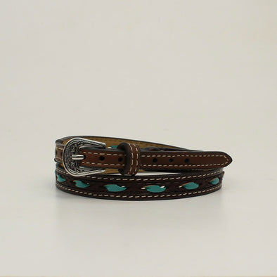 "Hat Band 1/2"" Turquoise Rawhide Lacing Brown 27"""