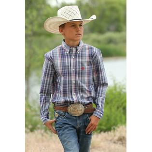Cinch Long Sleeve Boy's Shirt - Multicolor Plaid
