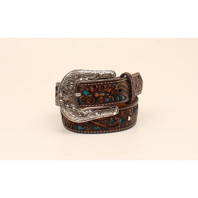 "Ariat Girls Belt 1.25"" Brown Floral Embossed with Turquoise Fillagree and Crystal Studs"