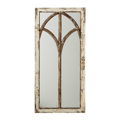 Distressed Ivory Arch Window Wall Mirror