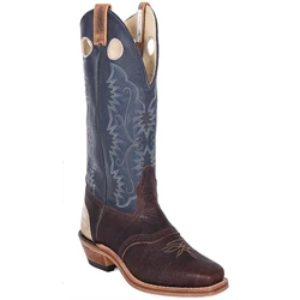 Brahma Men's Buckaroos and Bronc Boot - Brown Oiled Bullhide/Navy Deertan - Irvines Saddles