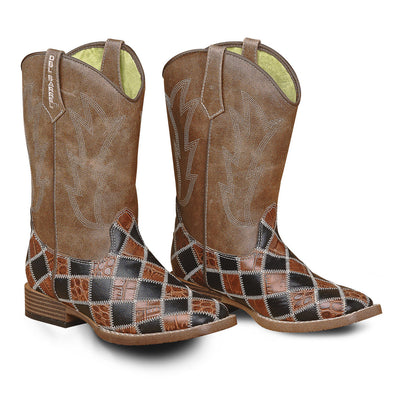 ***Double Barrel Toddler Andy Cowboy Boot  - Brown/Black Patchwork Square Toe with Brown Shaft