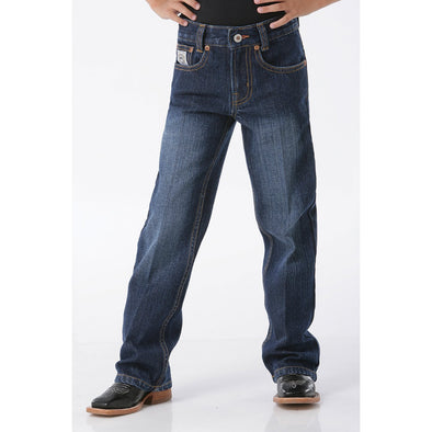 Cinch White Label Boy's Slim Fit Jeans, Adjustable Waistband - Dark Stonewash