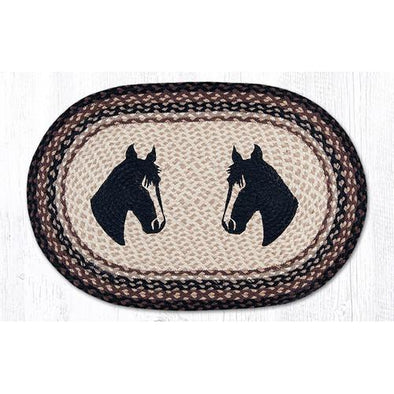 Horse Portrait Oval Patch Rug