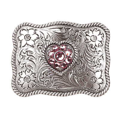 Blazin Roxx Girls Buckle Rectangle - Pink Crystal Heart Center