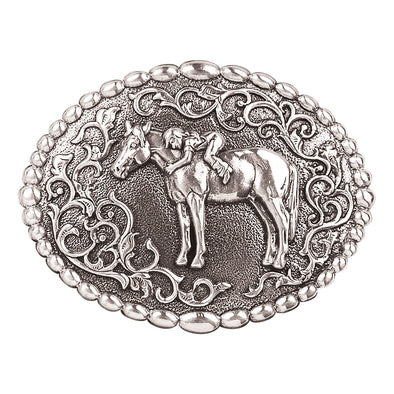 Blazin Roxx Girls Buckle Oval -  Girl with Horse