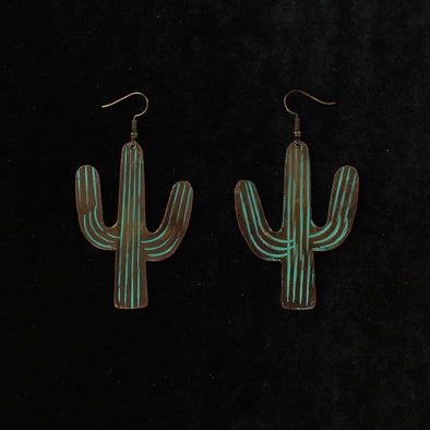 Blazin Roxx Earrings - Large Patina Cactus, Turquoise