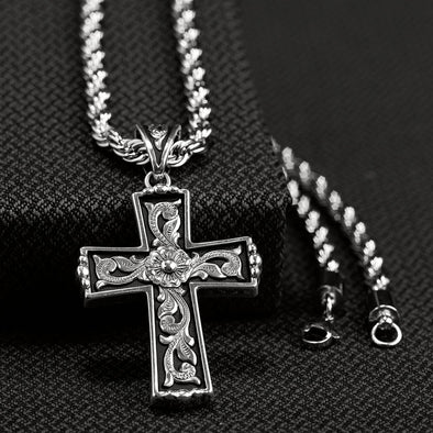 Twister Mens Necklace - Silver Scroll with Black Inlay Cross 24""