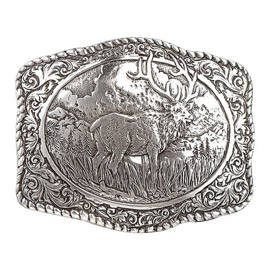 Crumrine Buckle Rectangle Rope Edge Scroll Work with Elk in Center 2.75x3.5""