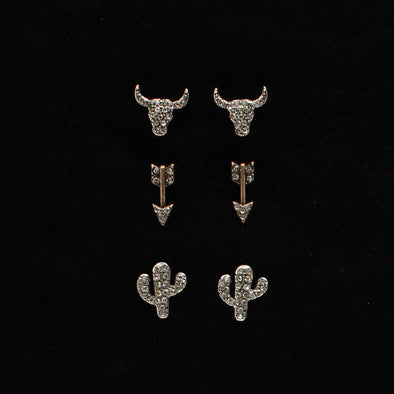 Blazin Roxx Earring 3piece Set, Longhorn/Arrow/Cactus