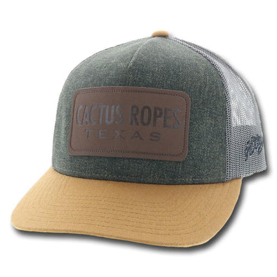 """CR42"" Hooey, Green/Grey 5-Panel Trucker w/Leather Patch"