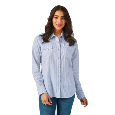 Wrangler Women's Western Fashion Top - Blue/White