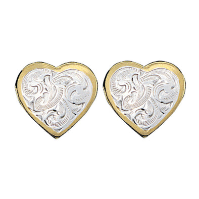 Montana Silversmiths Earrings - Small Heart With Gold