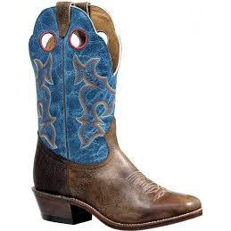 Boulet Men's Cowboy Boot - Lava Electric Blue & Shoulder Navajo Brown/Damasko Taupe - Irvines Saddles