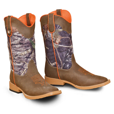 ***Double Barrel Buckshot Childrens Cowboy Boot - Brown Square Toe with Mossy Oak Shaft