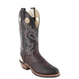 Brahma Men's Buckaroos and Bronc Boot - Brown Oiled Bullhide/Black Micchato - Irvines Saddles
