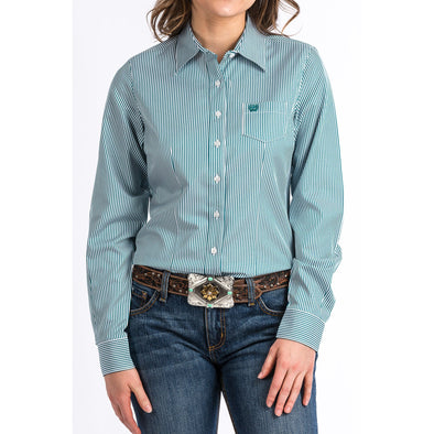 Cinch Long Sleeve Women's Shirt - Teal Stripe