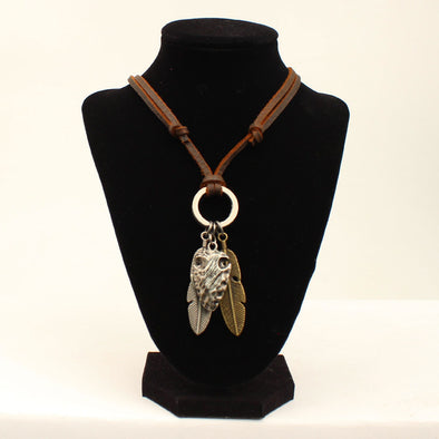 Twister Necklace Adjustable 2 Feathers and Arrowhead