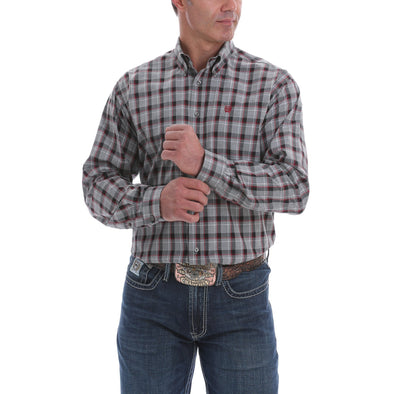 Cinch Mens LS Plaid Shirt  Grey