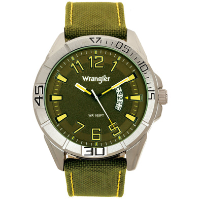 Wrangler 50MM, Green Strap Watch