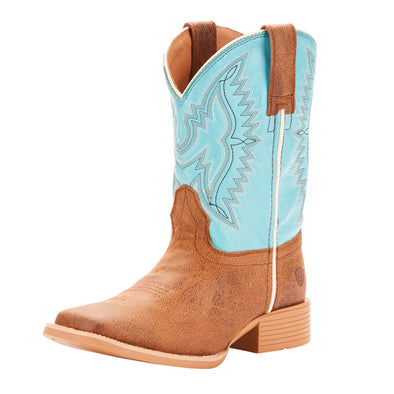 Ariat Youth Bristo Western Boot - Tan Tilt/Bustin Blue
