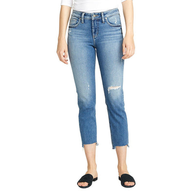 Silver Avery Slim Crop Denim Pant