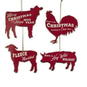 "5"" Metal Farmhouse Animal Ornament"